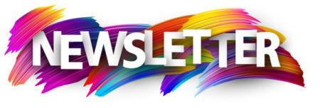 Newsletter banner. Colorful brush design. Vector background.